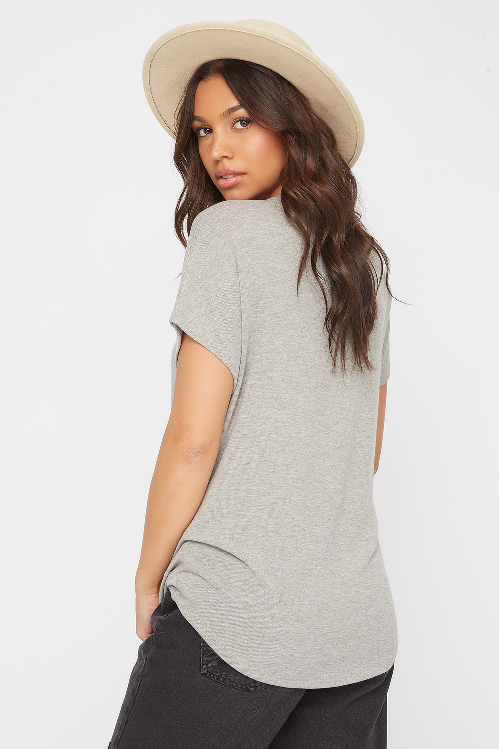 Dolman Short Sleeve Top Charcoal