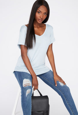 V-Neck Roll Cuffed T-Shirt