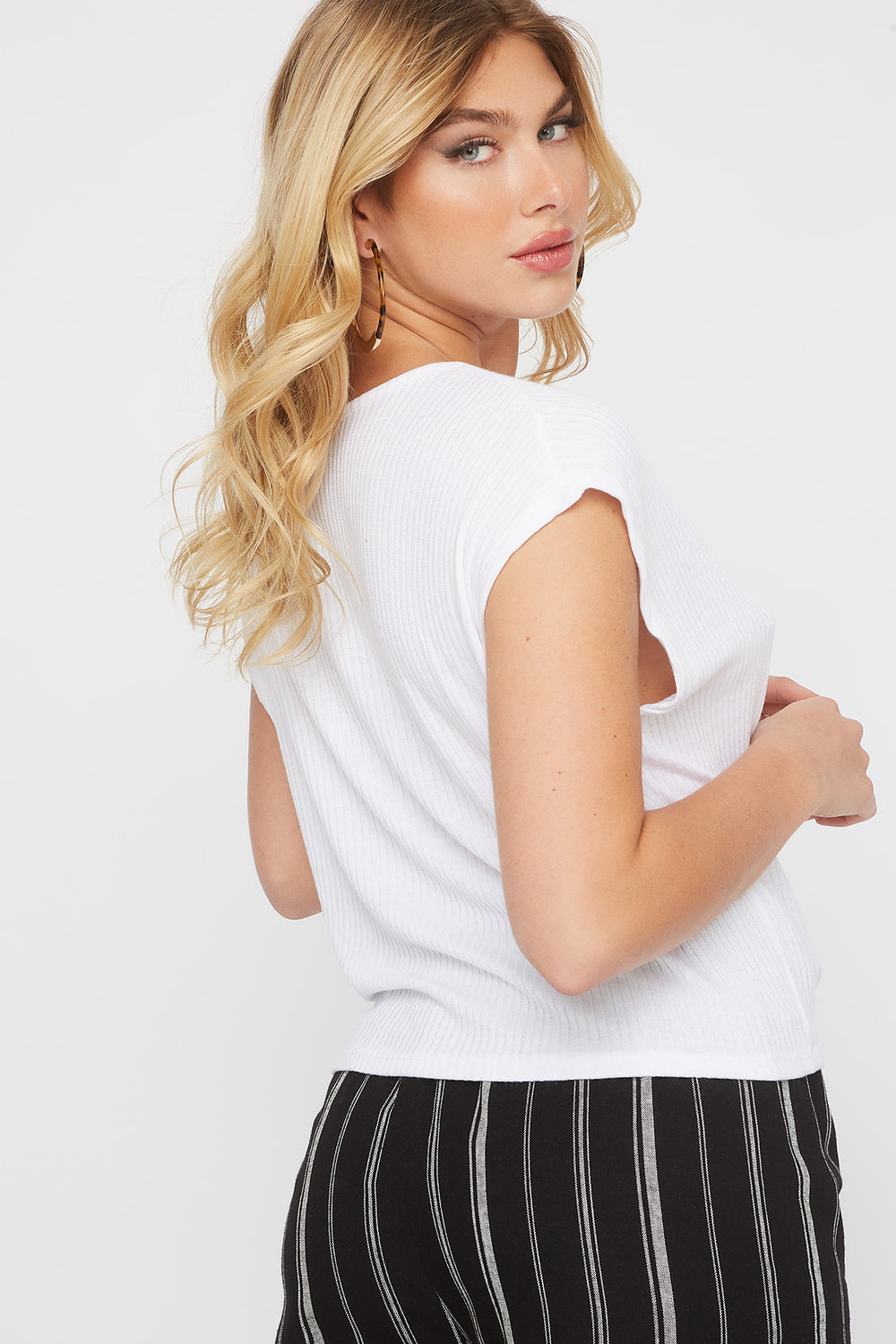 Ribbed Self Tie Cap Sleeve T-Shirt White