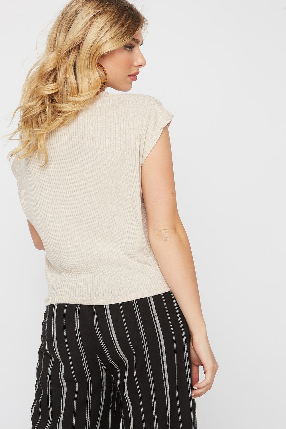 Ribbed Self Tie Cap Sleeve T-Shirt Oatmeal