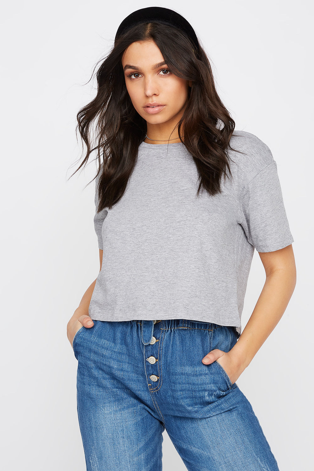 Boxy Relaxed Crew Neck T-Shirt Heather Grey
