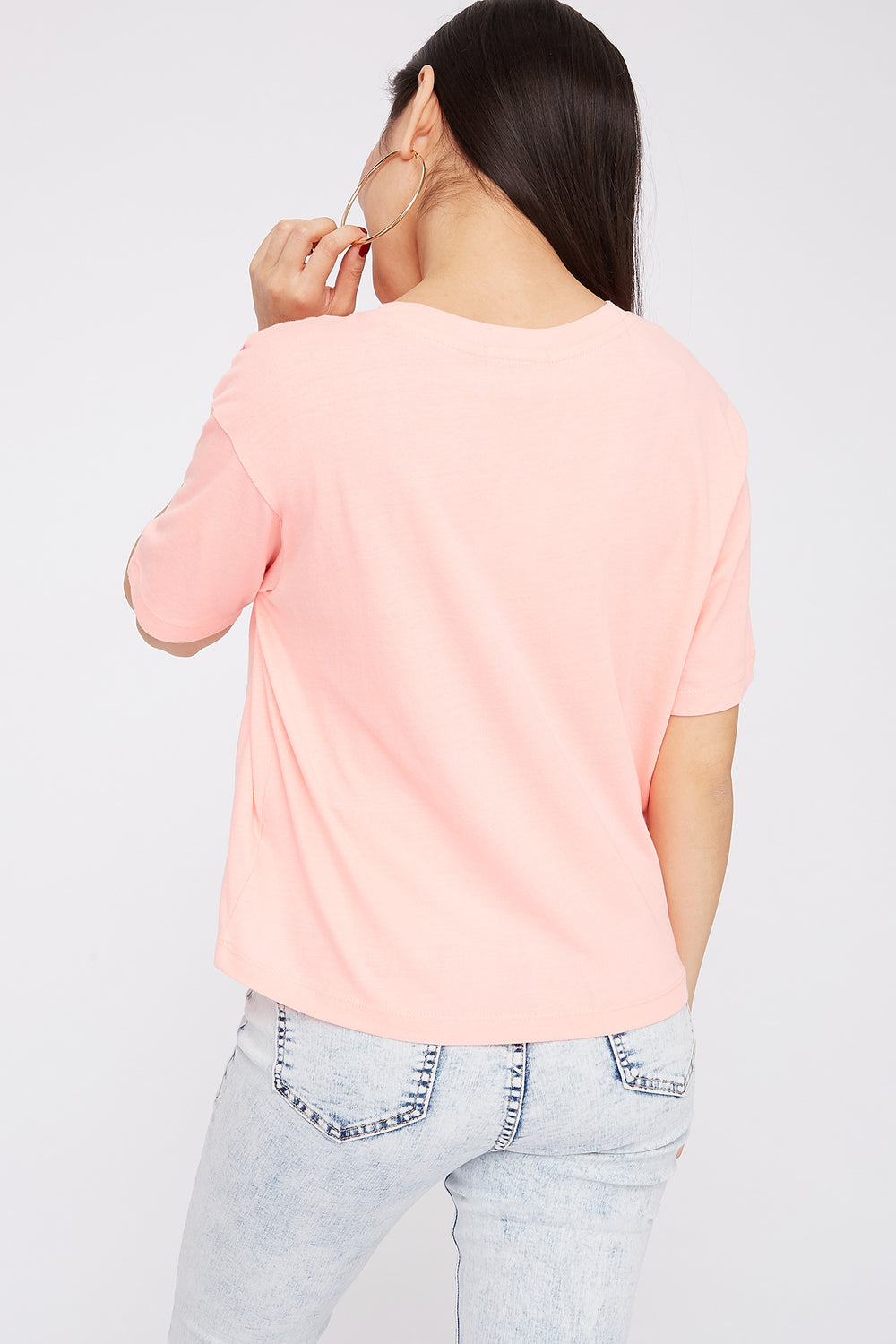 Boxy Relaxed Crew Neck T-Shirt Neon Pink
