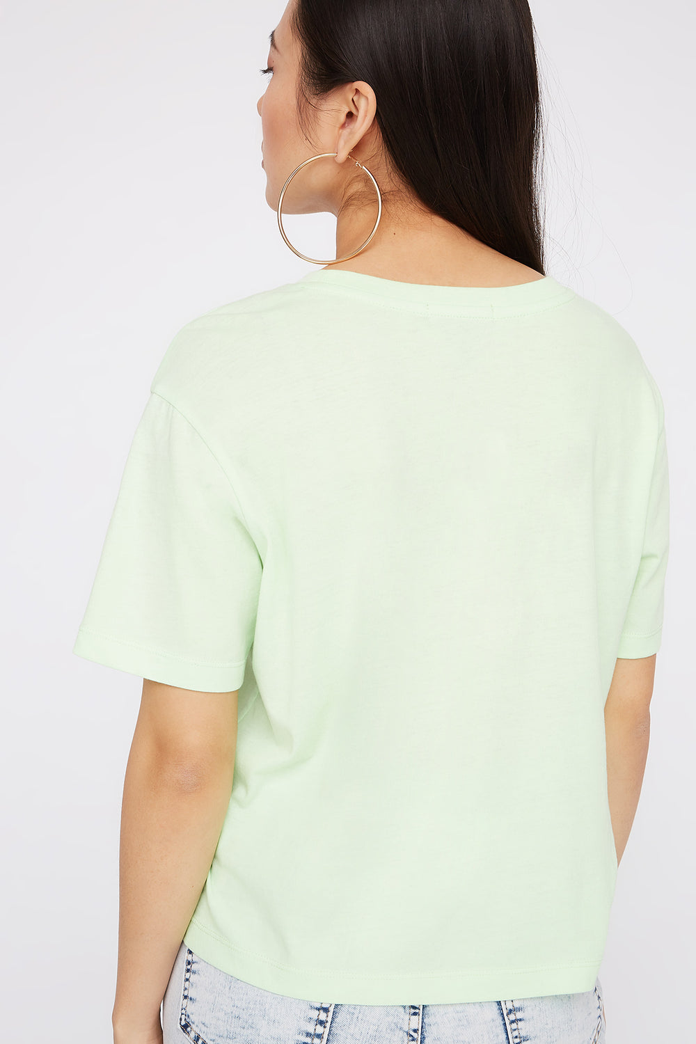 Boxy Relaxed Crew Neck T-Shirt Neon Green