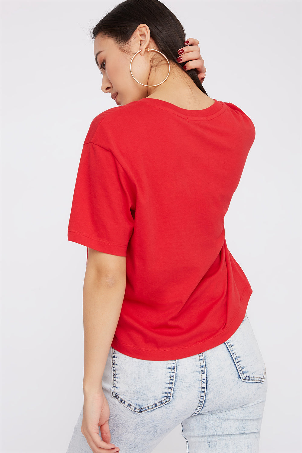 Boxy Relaxed Crew Neck T-Shirt Red