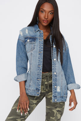 Blouson en denim d'aspect usé