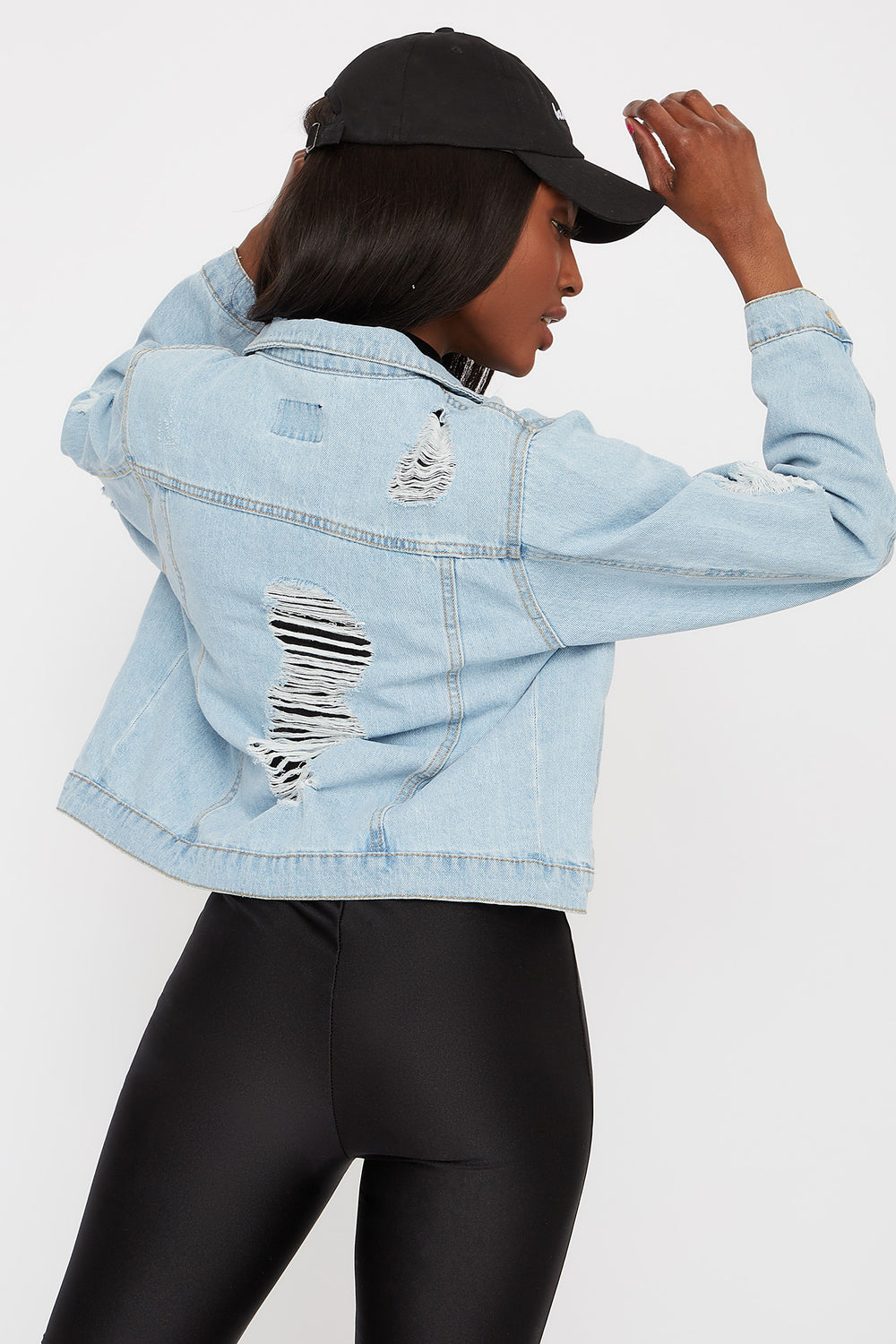 Blouson en denim d'aspect usé Bleu denim pale