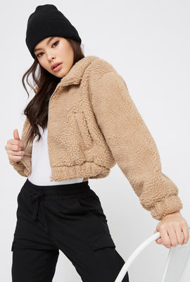 Cropped Sherpa Zip-Up Jacket