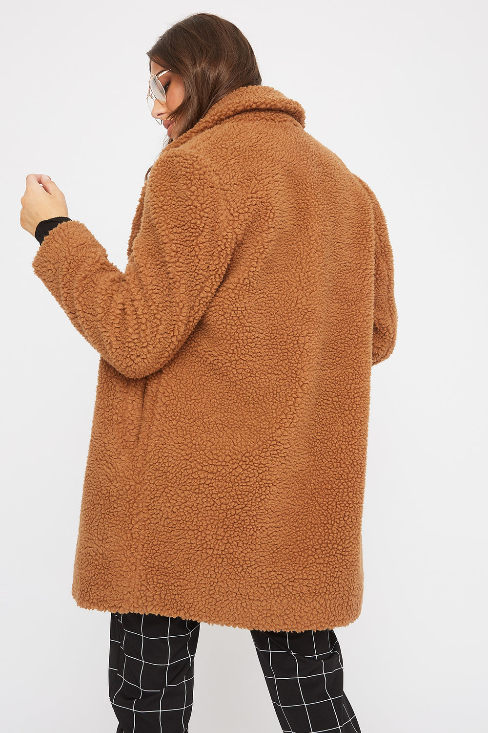 Soft 2-Button Sherpa Coat Brown