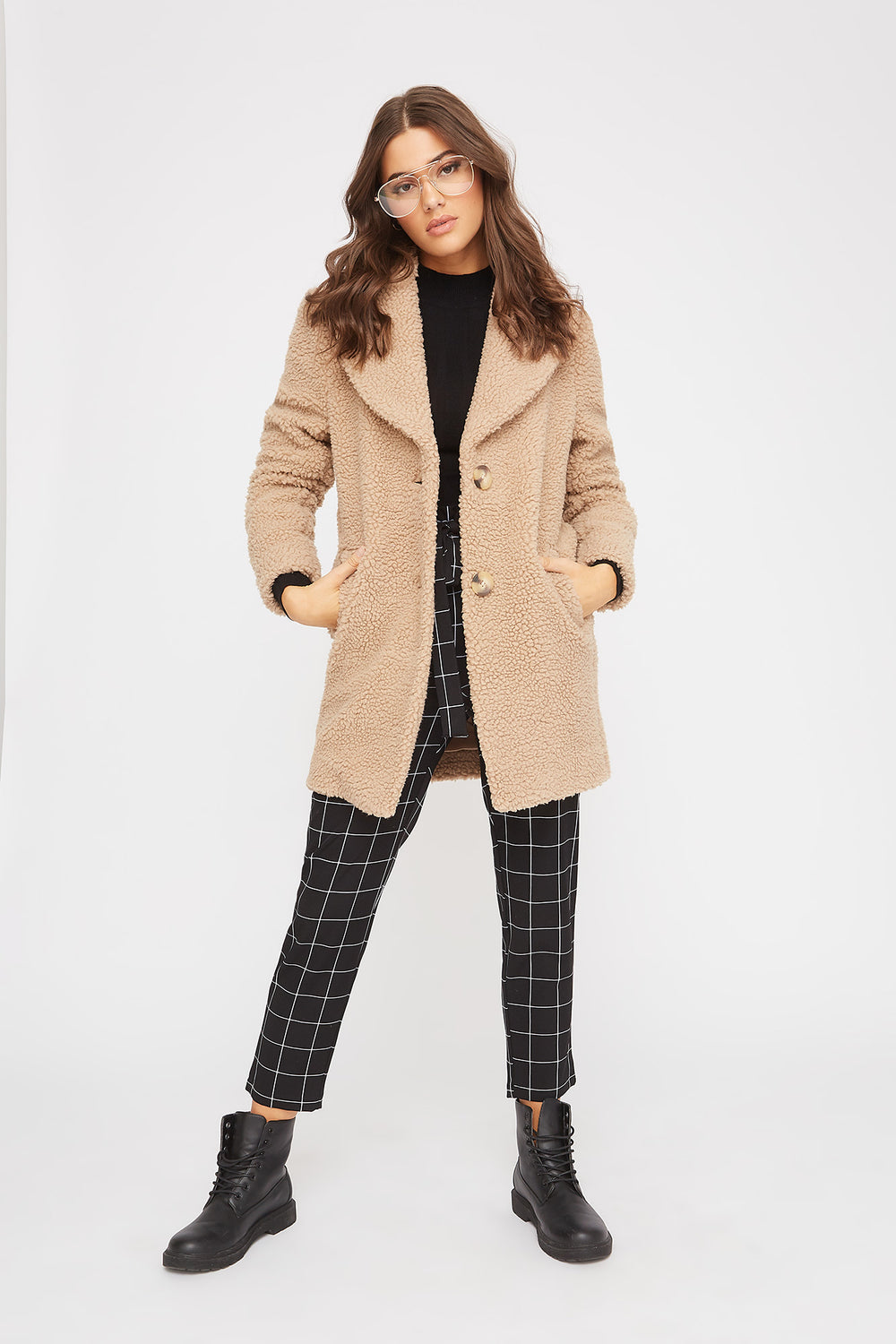 Soft 2-Button Sherpa Coat Tan