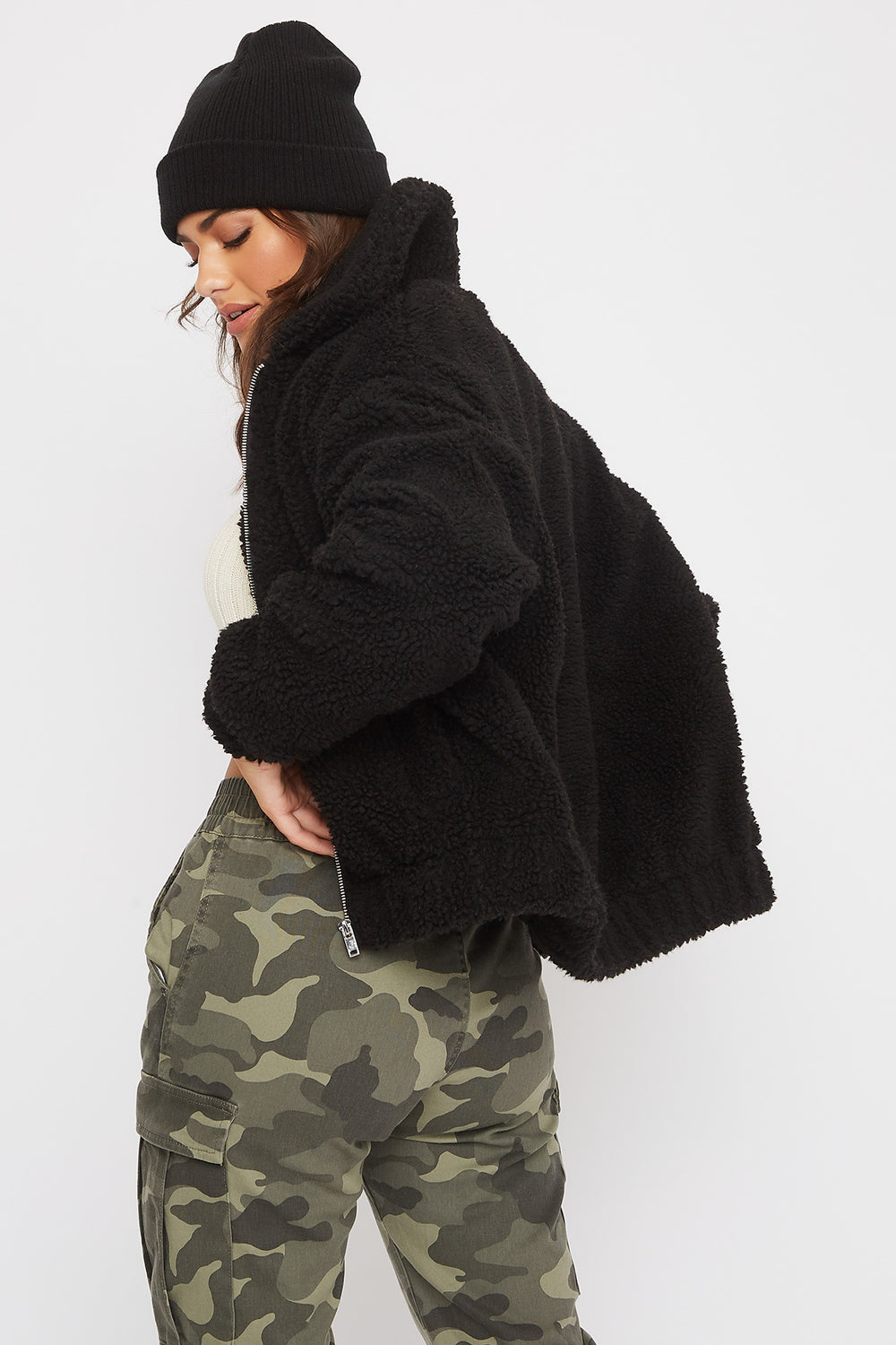 Soft Sherpa Bomber Jacket Black