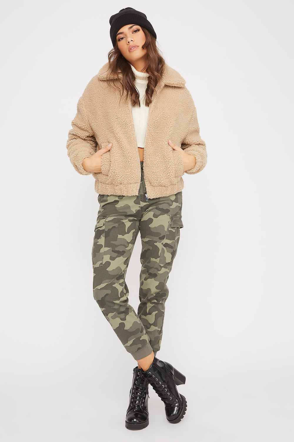 Soft Sherpa Bomber Jacket Tan