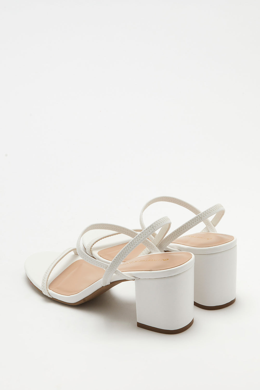Strappy Mid Block Heel Sandal White