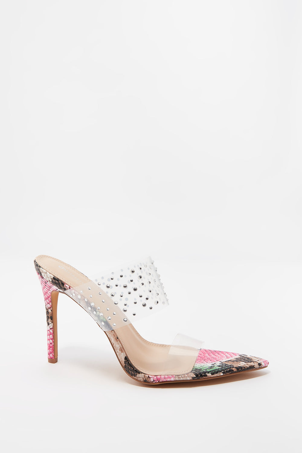 Clear Rhinestone Double Band Printed Stiletto Mule Multi