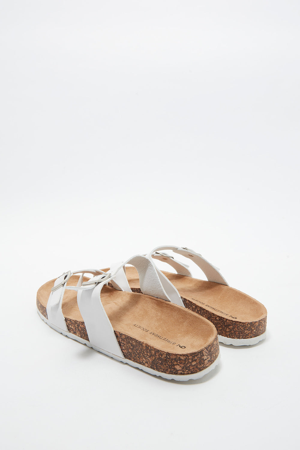 Dual Buckle Strap Toe Piece Slide White