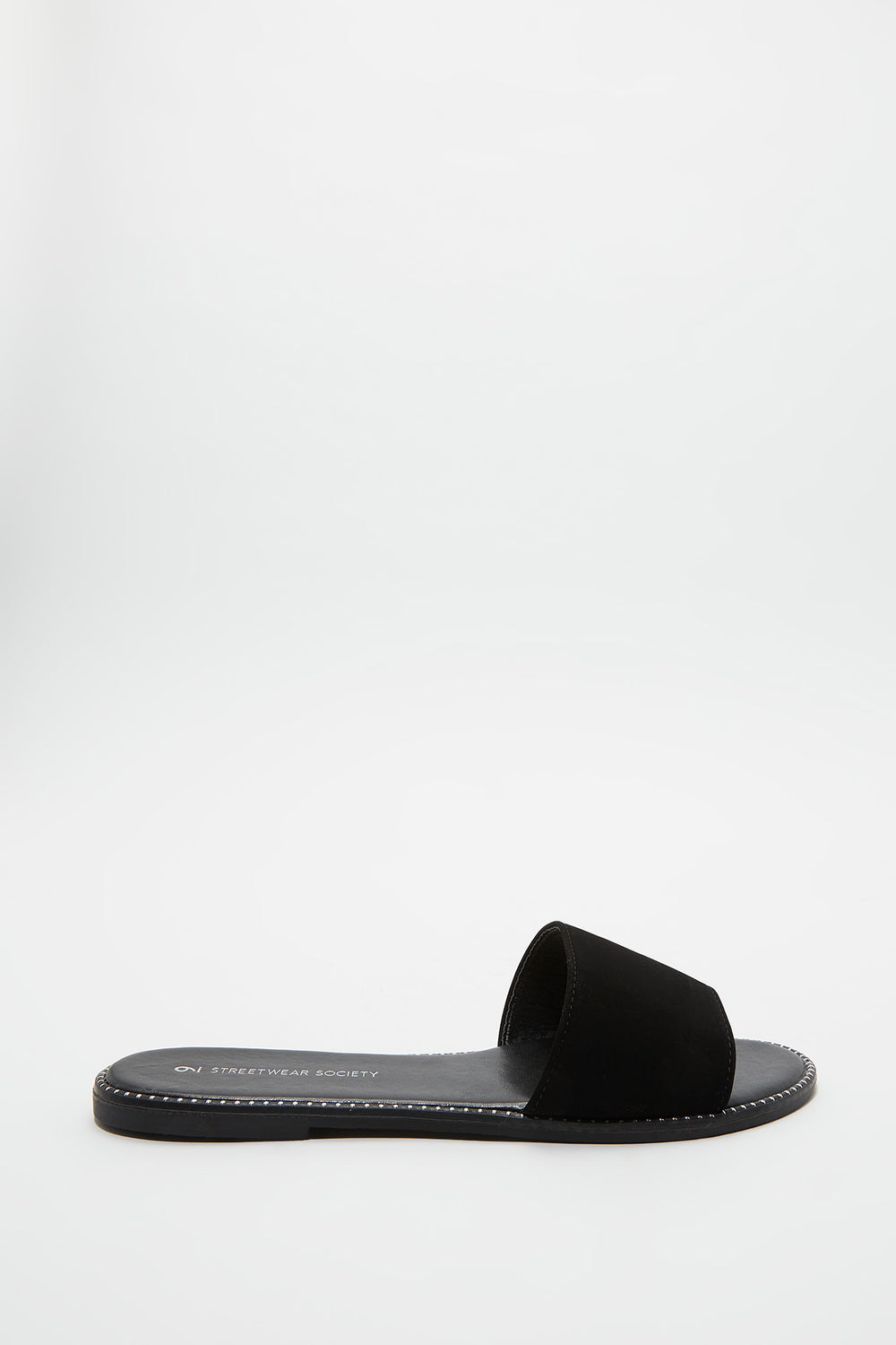 Faux Leather Slide Black
