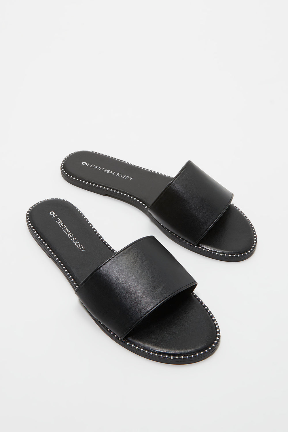 Faux Leather Slide Jet Black