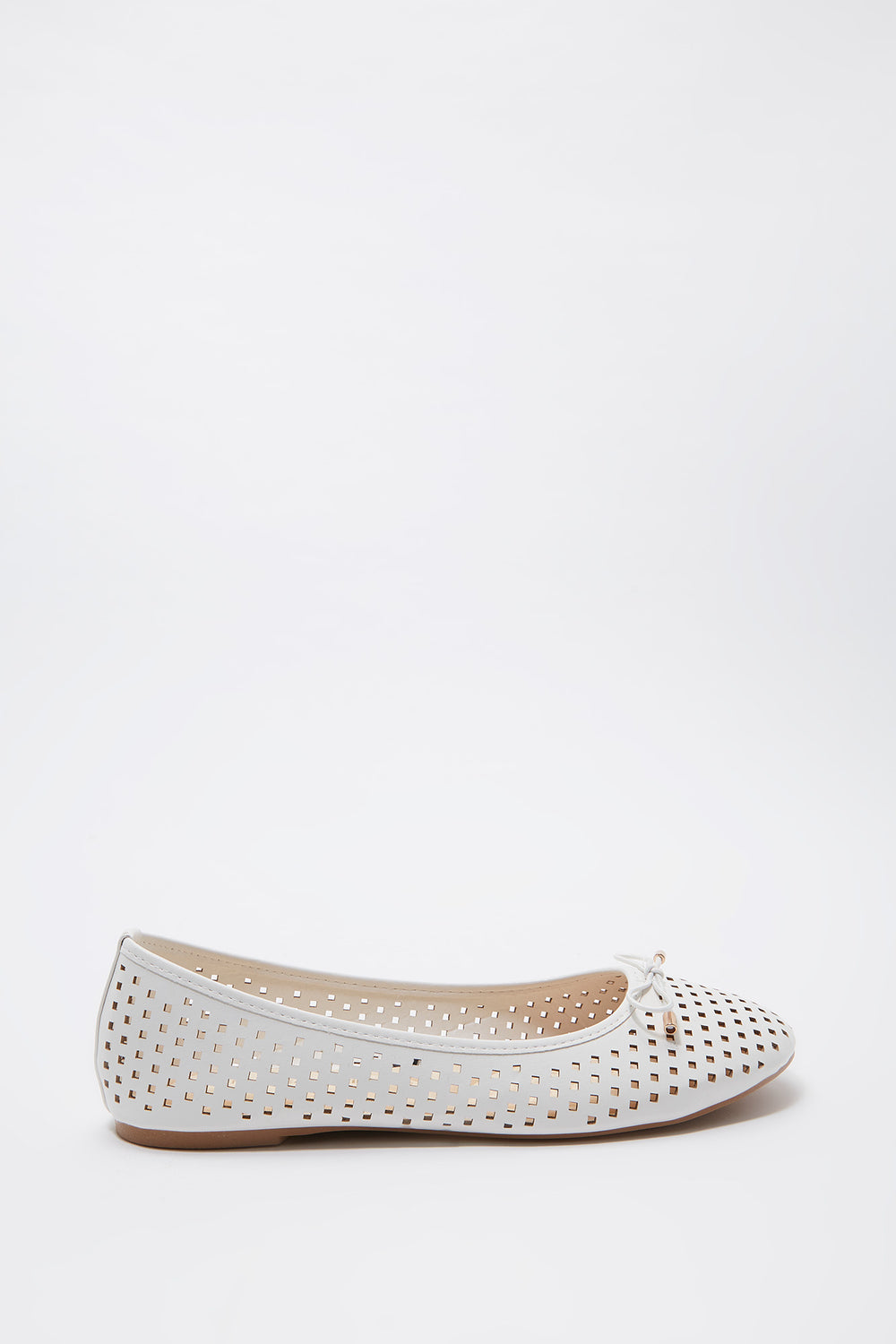 Laser Cut Out Bow Ballet Flat White