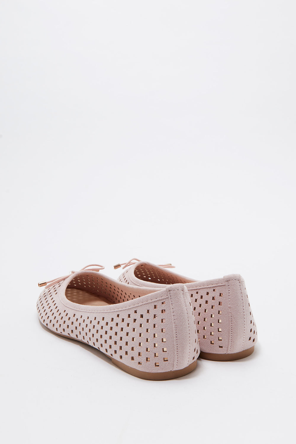 Laser Cut Out Bow Ballet Flat Light Pink