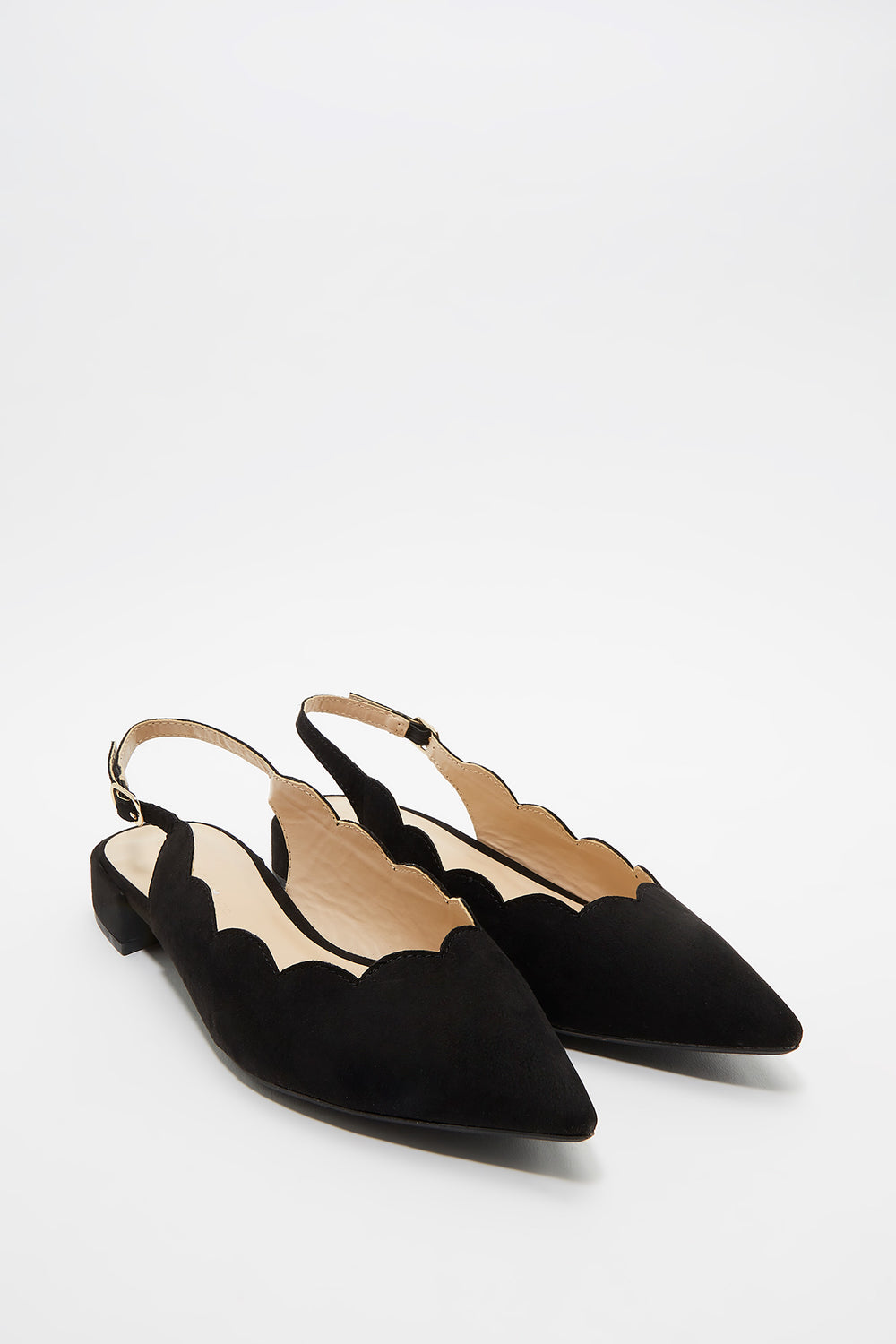 Scallop Slingback Block Kitten Heel Pump Black