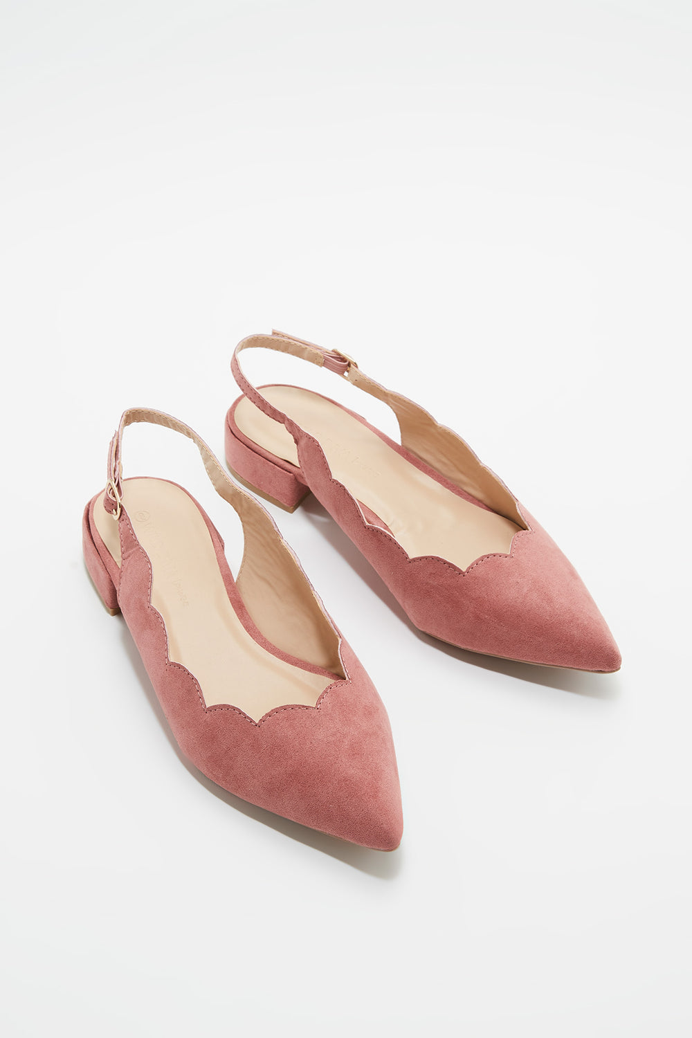 Scallop Slingback Block Kitten Heel Pump Light Pink