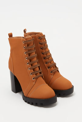 Lace-Up Platform Block Heel Bootie