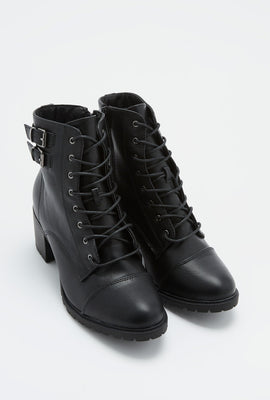 Lace-Up Heel Combat Boot