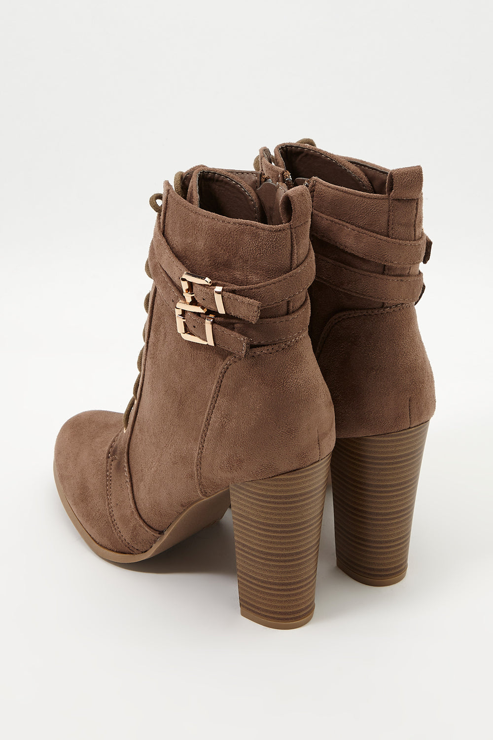 Faux-Suede Lace Up Bootie Taupe