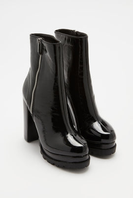 Patent Side Zip Platform Boot