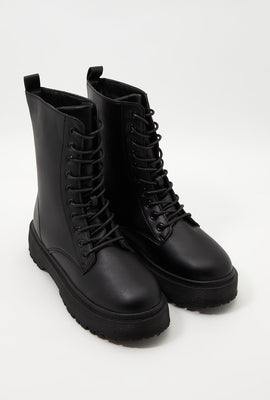 Classic Faux-Leather Combat Boot