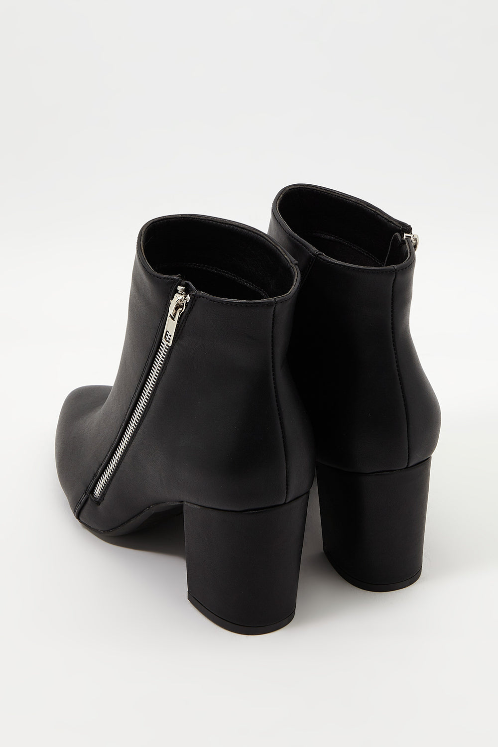 Pointed Faux-Leather Bootie Black