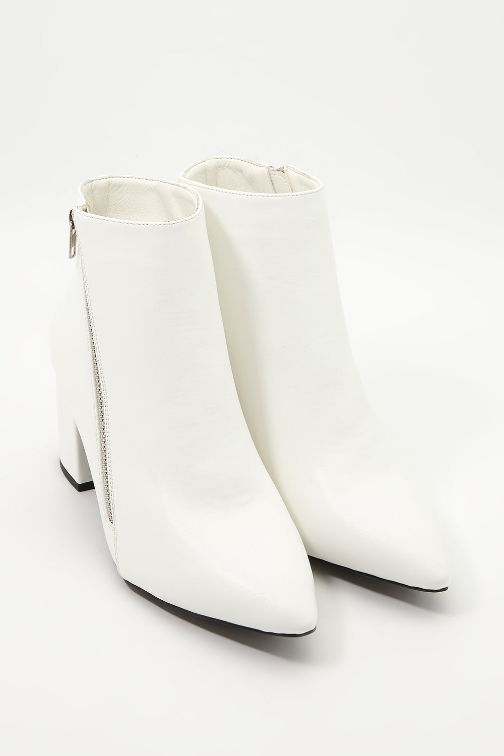 Pointed Faux-Leather Bootie White