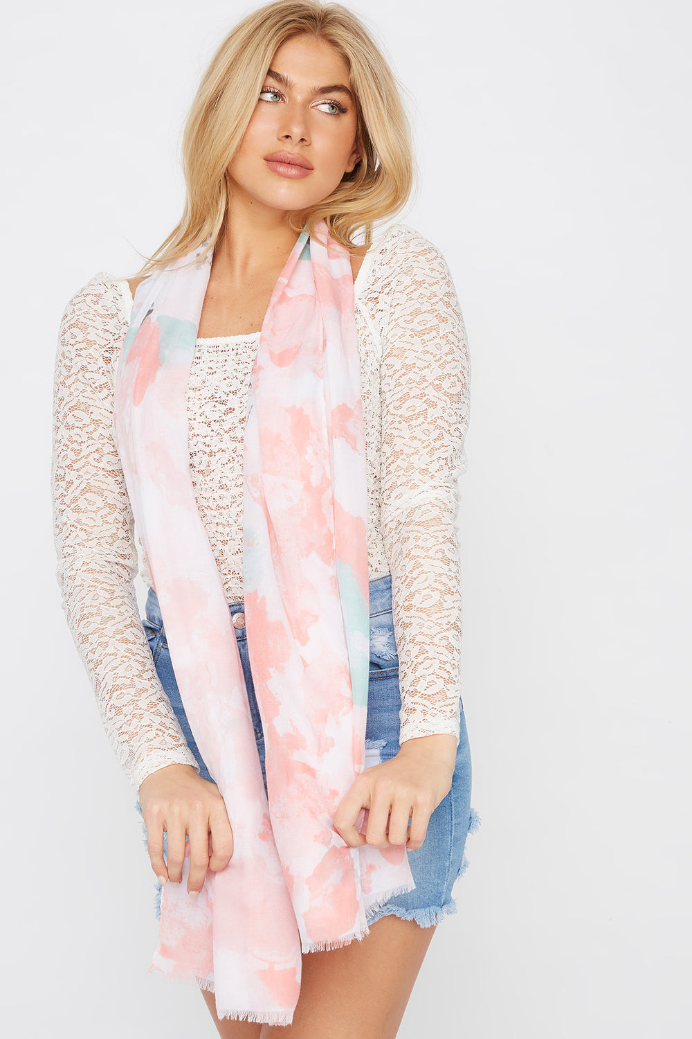 Floral Watercolour Scarf Pink