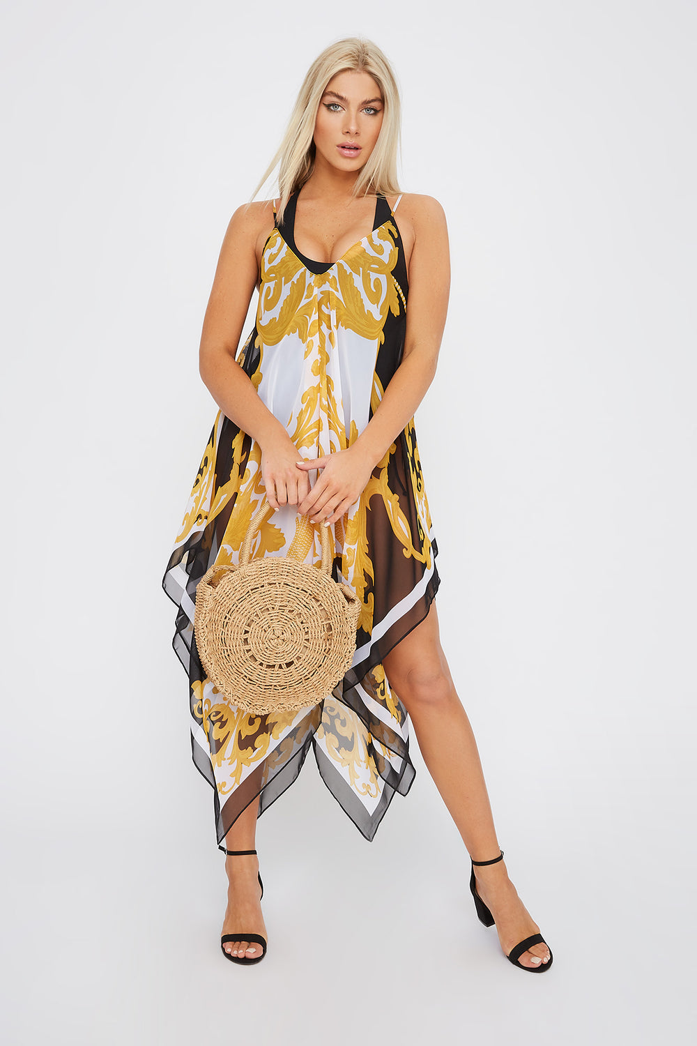 Printed Handkerchief Dress Cover Up Black