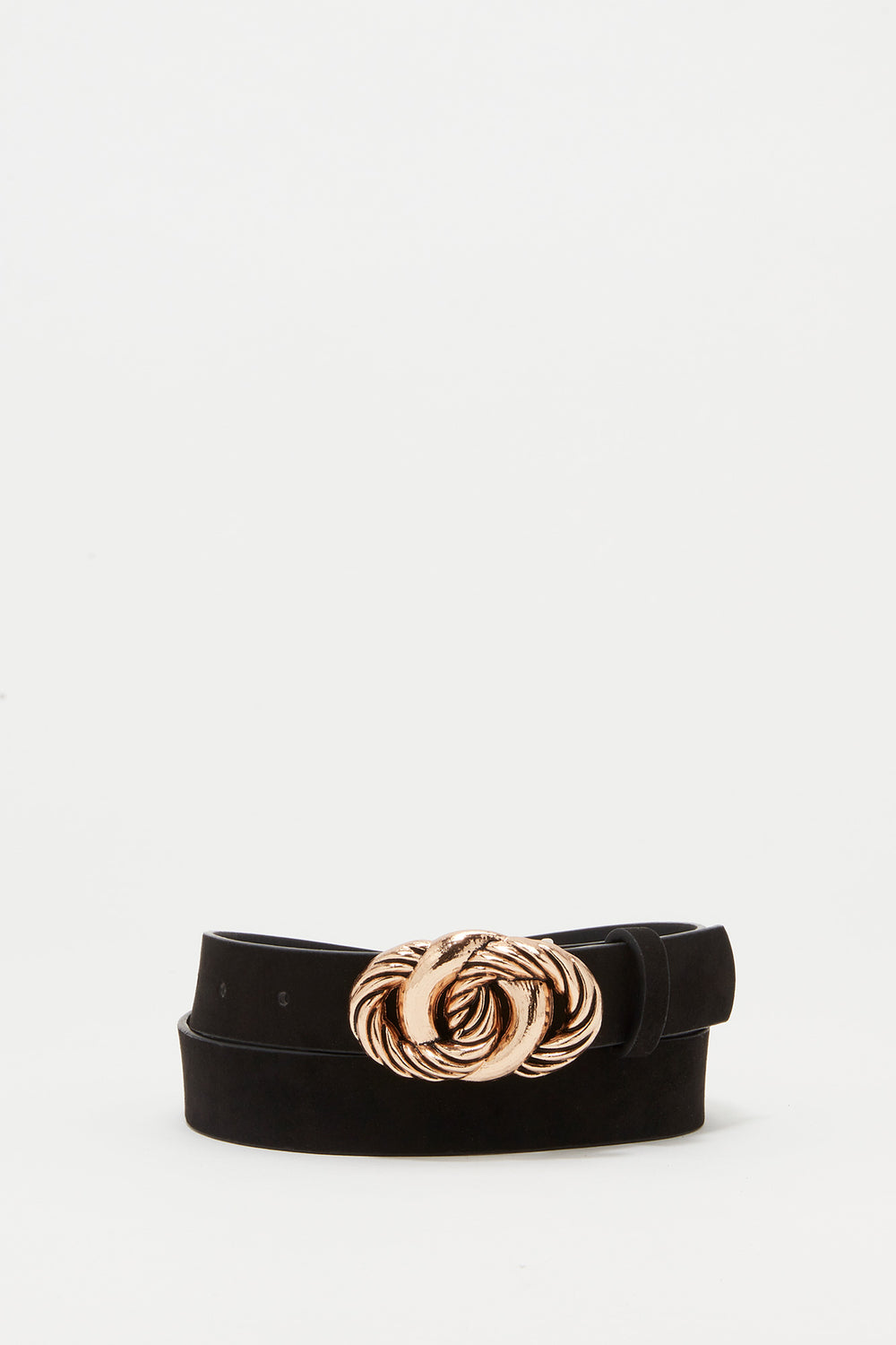 Knotted Buckle Faux-Leather Belt Black
