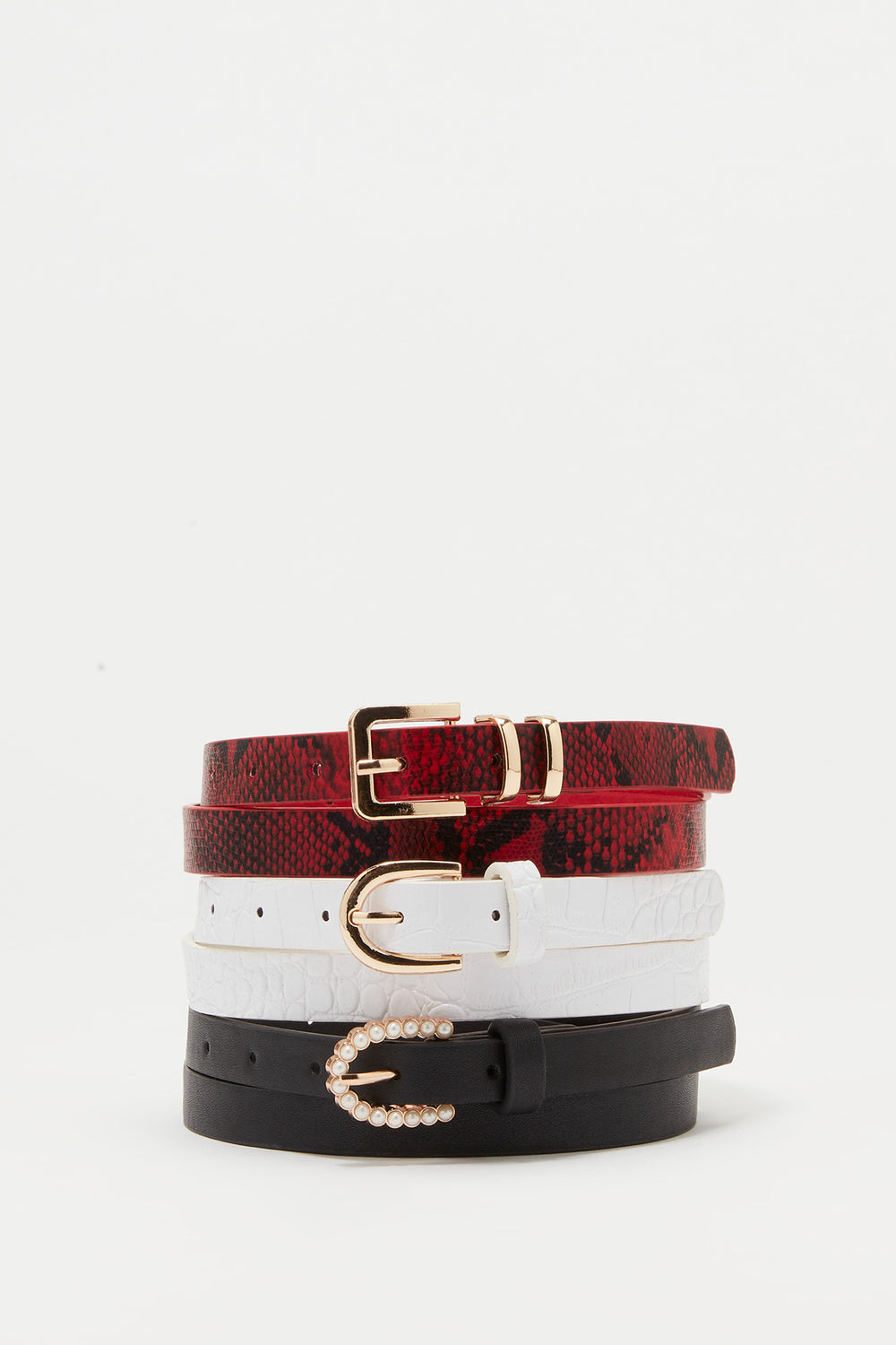 Assorted Skinny Belts (3 PC) White
