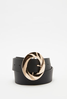 Textured Oval Buckle Belt