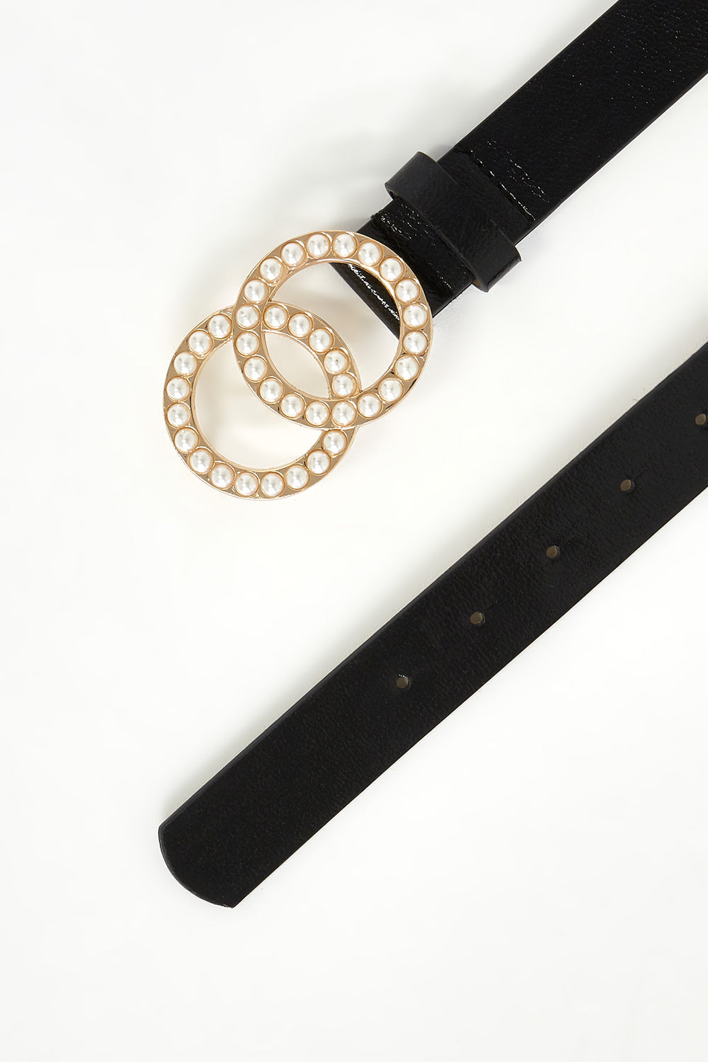 Pearl Link Circle Belt Black