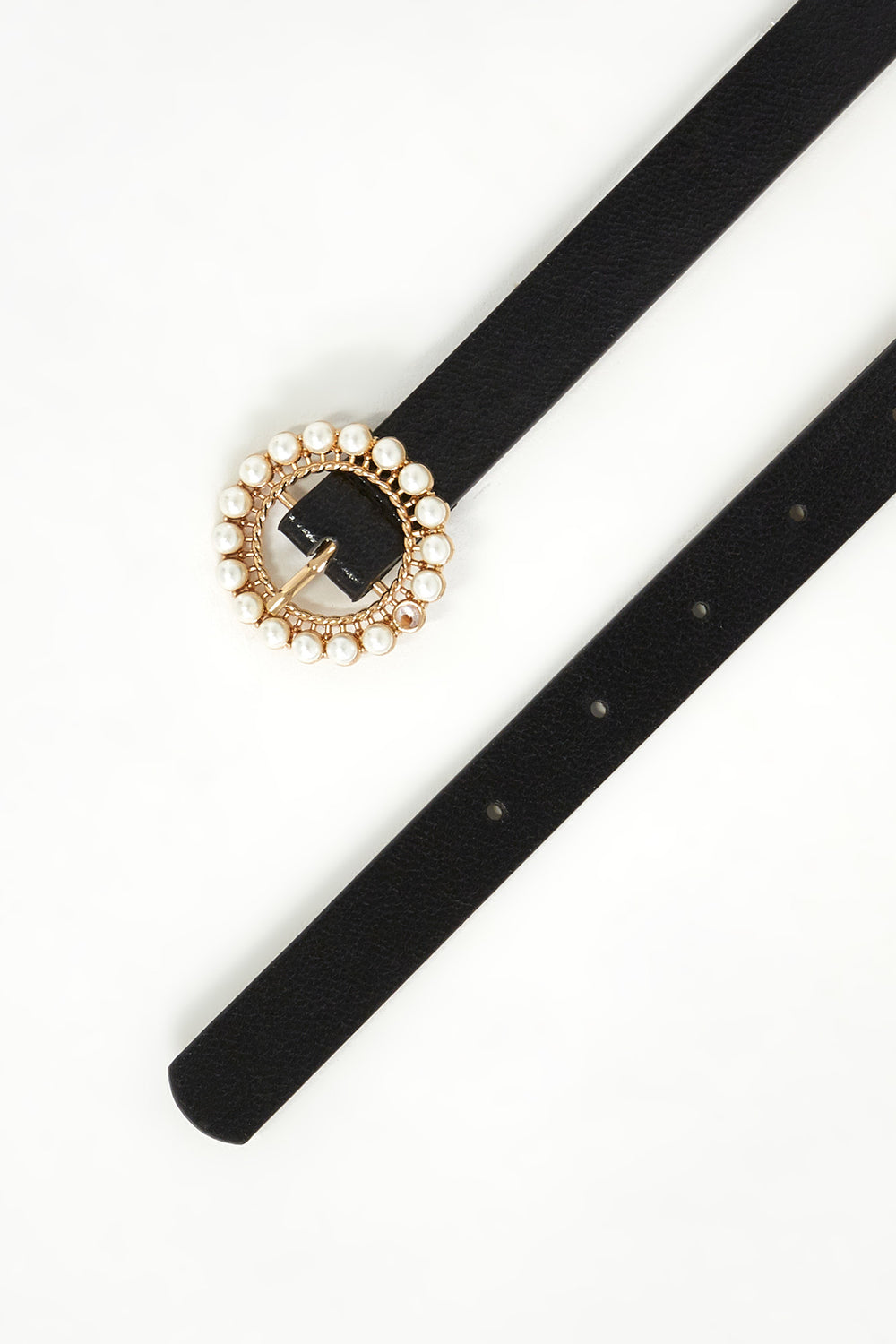 Round Pearl Buckle Belt Black