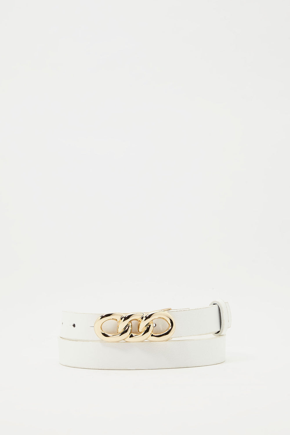 Chain Buckle Belt White