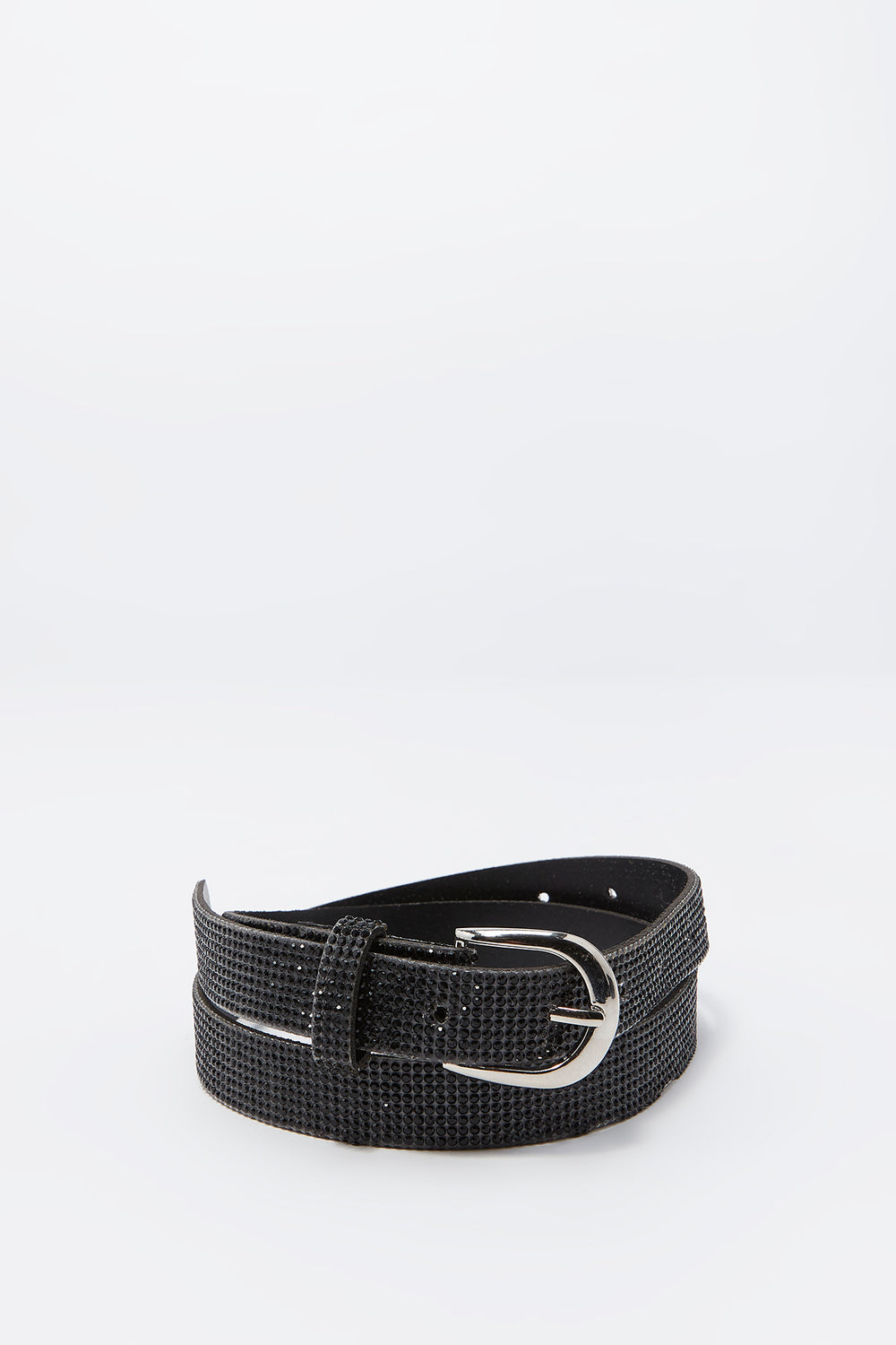 Rhinestone Buckle Belt Black