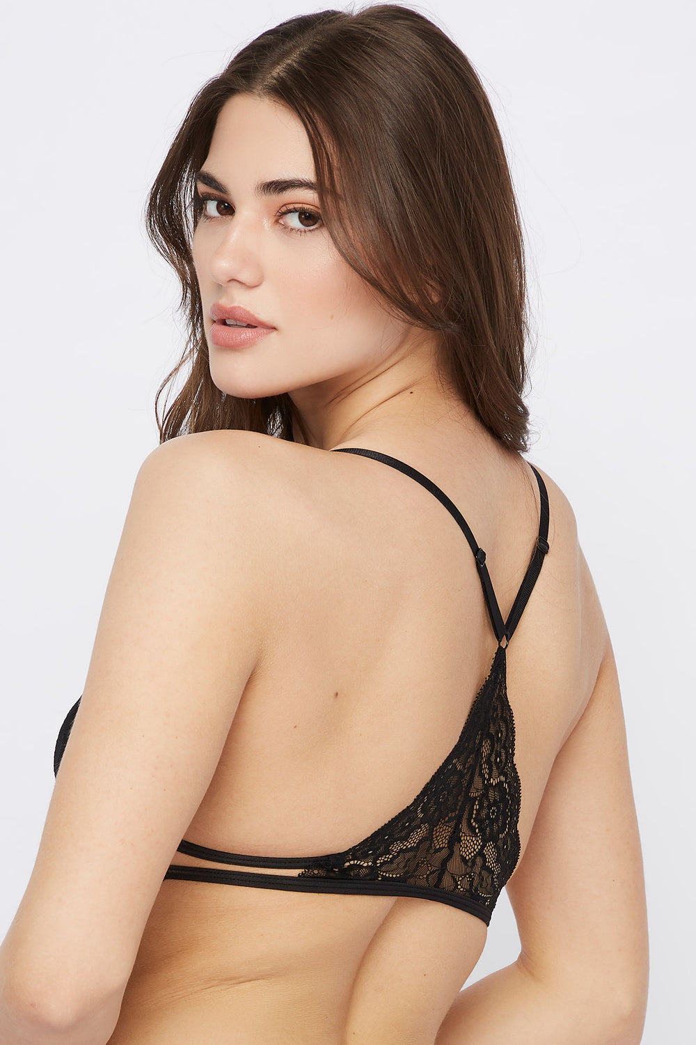 Lace Triangle Bralette Black