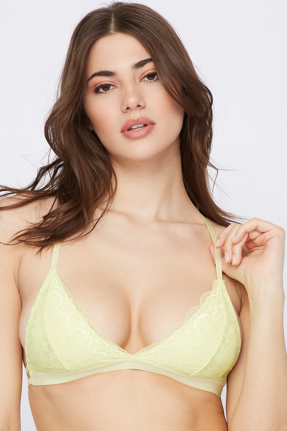 Lace Triangle Bralette Neon Yellow