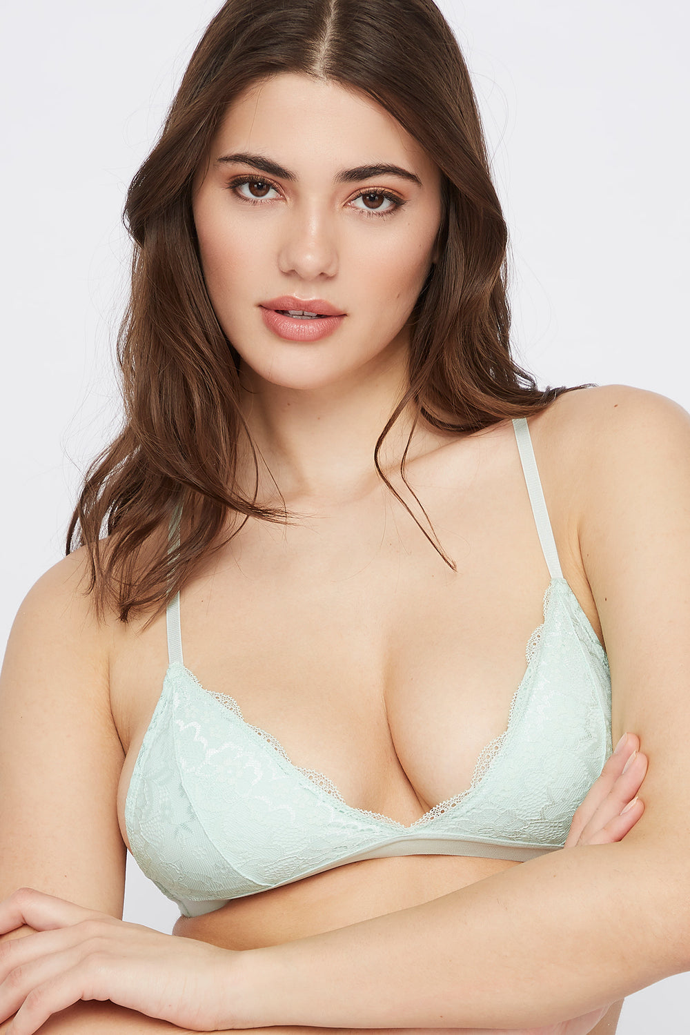 Lace Triangle Bralette Aqua