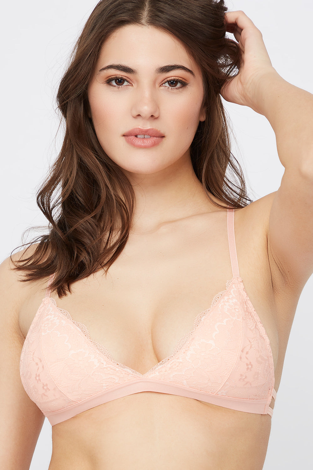 Lace Triangle Bralette Peach