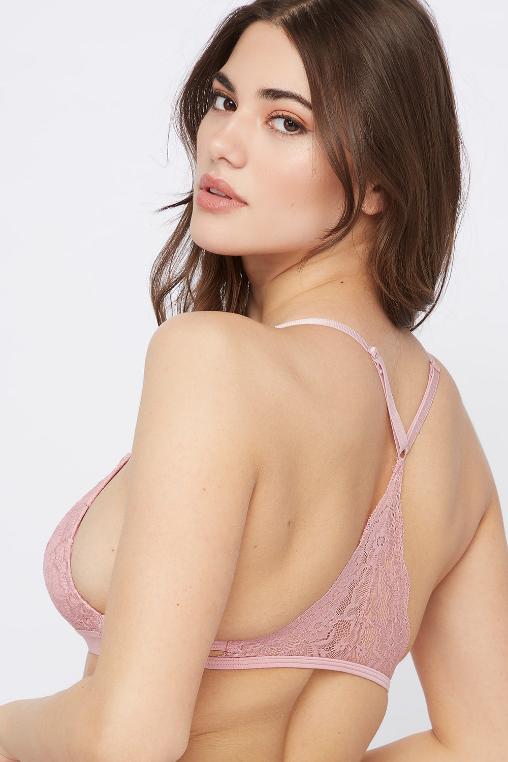 Lace Triangle Bralette Dusty Rose