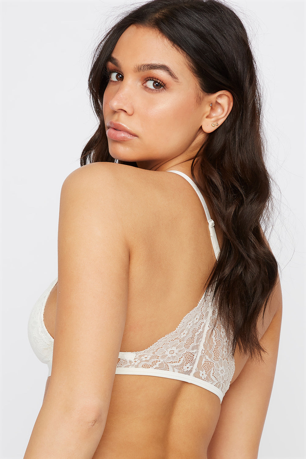 Lace Triangle Bralette White