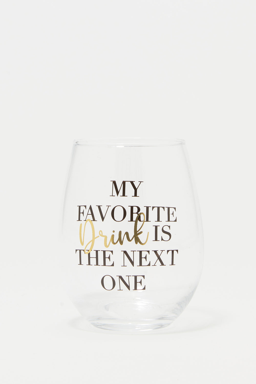 Stemless Wine Glass Graphic Set (2 PC) Gold