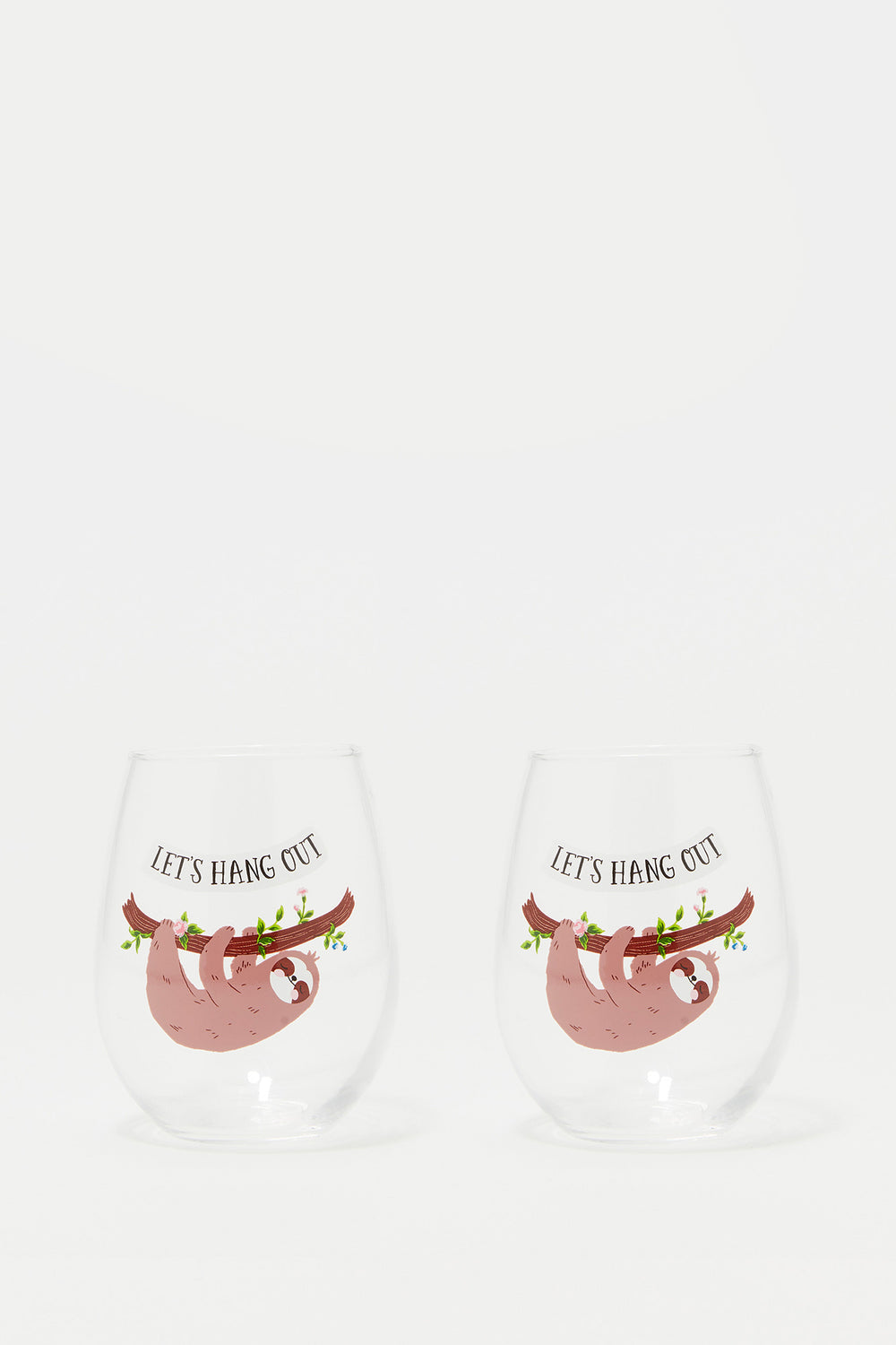 Stemless Wine Glass Graphic Set (2 PC) Brown