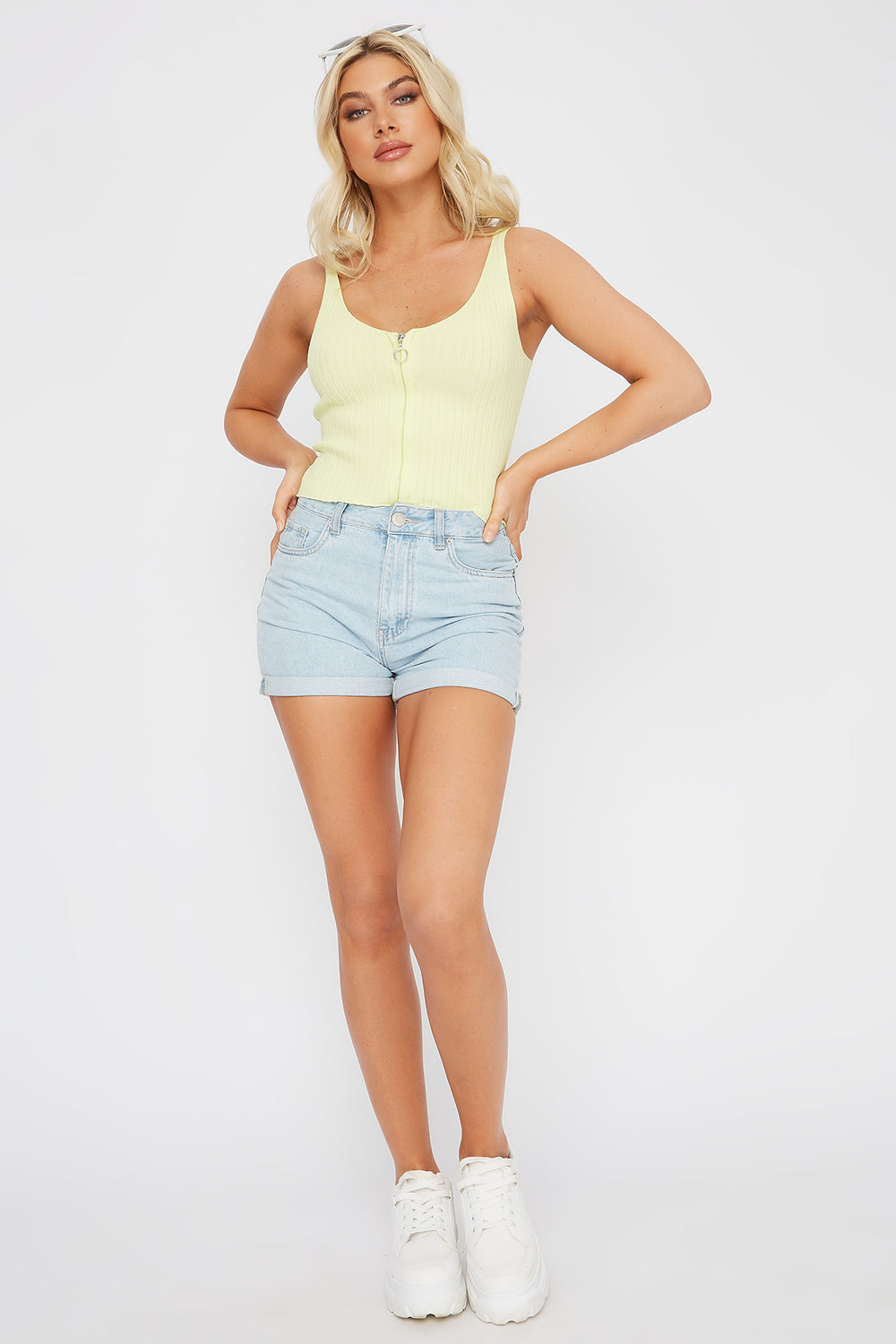 Ribbed V-Neck Zip-Up Tank Neon Yellow
