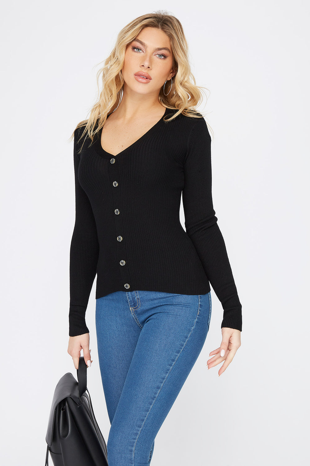 Ribbed V-Neck Button Long Sleeve Black